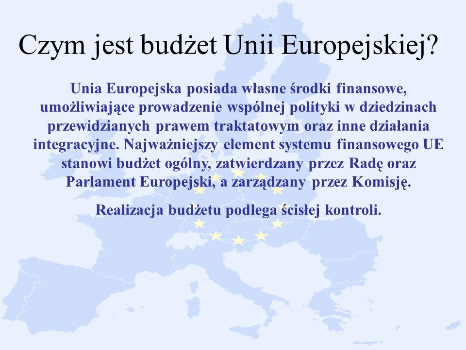 Czym jest budżet Unii Europejskiej? Unia Europejska posiada własne środki finansowe, umożliwiające prowadzenie wspólnej polityki w dziedzinach przewid