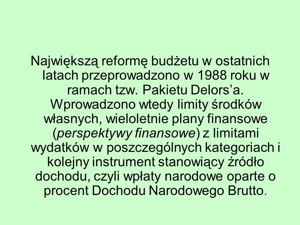 Największą reformę budżetu w ostatnich latach przeprowadzono w 1988 roku w ramach tzw. Pakietu Delors'a. Wprowadzono wtedy limity środków własnych, wi