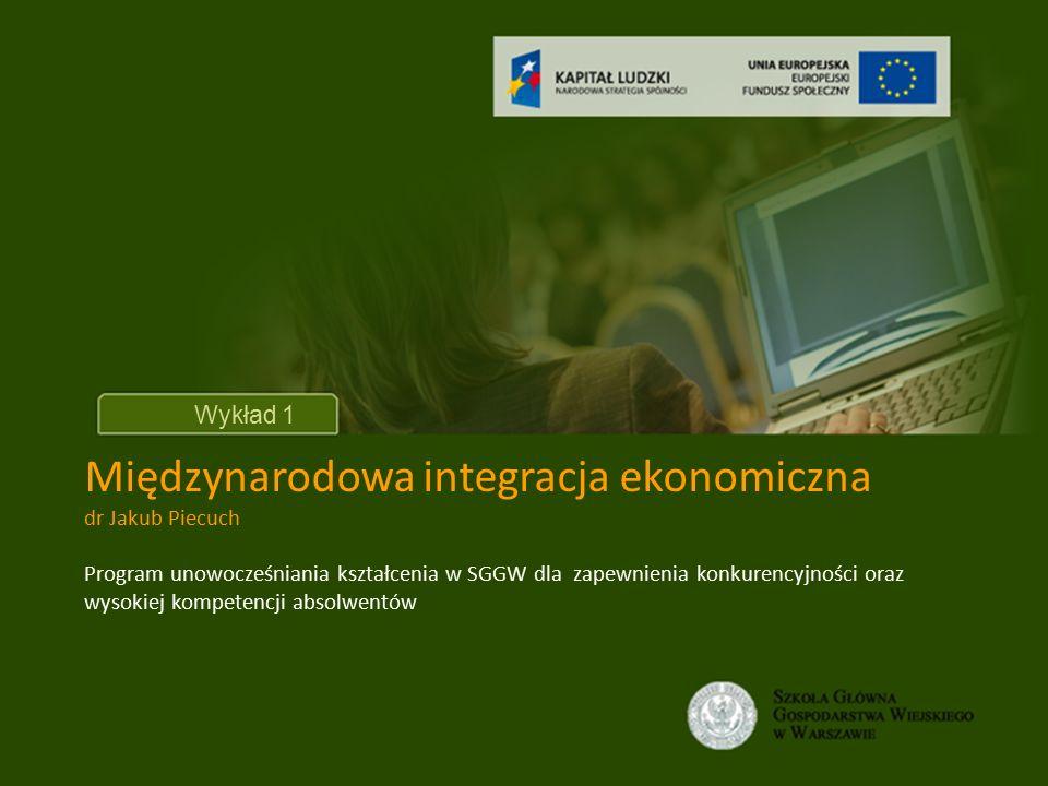 Unia gospodarcza i walutowa Unia gospodarcza obejmuje wszystkie elementy wchodzące w skład wspólnego rynku, a ponadto uwzględniająca koordynację lub unifikację poszczególnych dziedzin polityki gospodarczej.