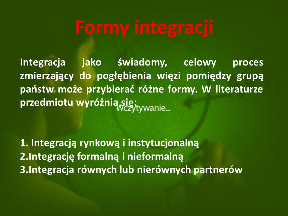 Formy integracji Integracja jako świadomy, celowy proces zmierzający do pogłębienia więzi pomiędzy grupą państw może przybierać różne formy.