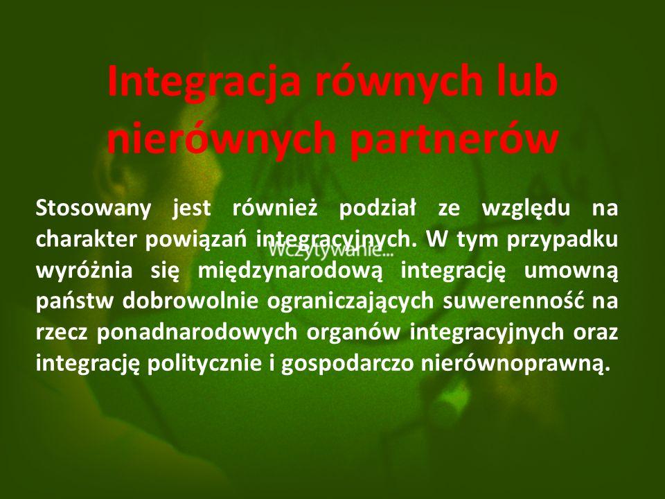 Integracja równych lub nierównych partnerów Stosowany jest również podział ze względu na charakter powiązań integracyjnych.
