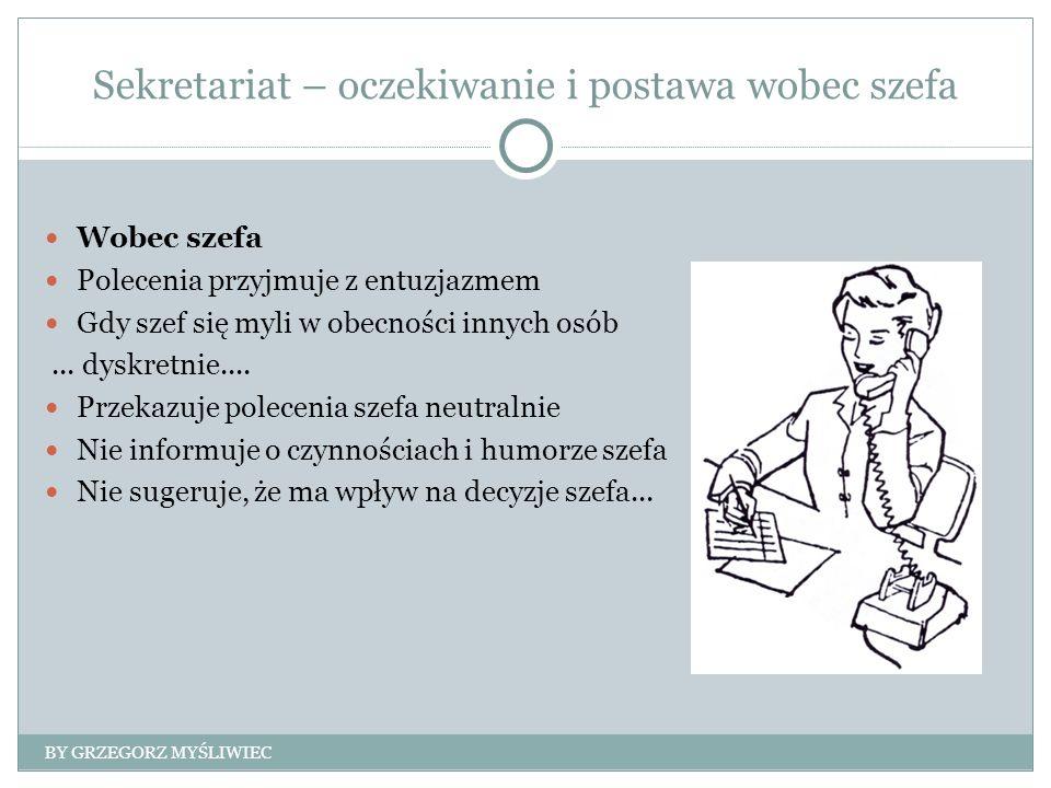 Sekretariat – oczekiwanie i postawa wobec szefa Wobec szefa Polecenia przyjmuje z entuzjazmem Gdy szef się myli w obecności innych osób...