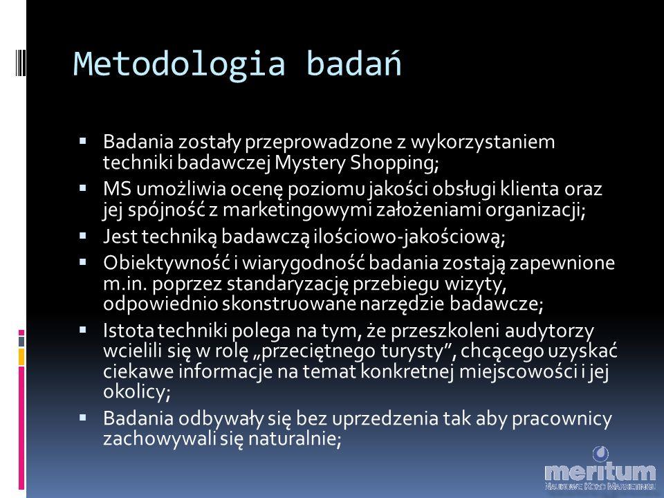 Metodologia badań  Badania zostały przeprowadzone z wykorzystaniem techniki badawczej Mystery Shopping;  MS umożliwia ocenę poziomu jakości obsługi klienta oraz jej spójność z marketingowymi założeniami organizacji;  Jest techniką badawczą ilościowo-jakościową;  Obiektywność i wiarygodność badania zostają zapewnione m.in.