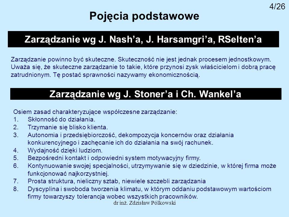 dr inż. Zdzisław Pólkowski Pojęcia podstawowe Zarządzanie wg J.