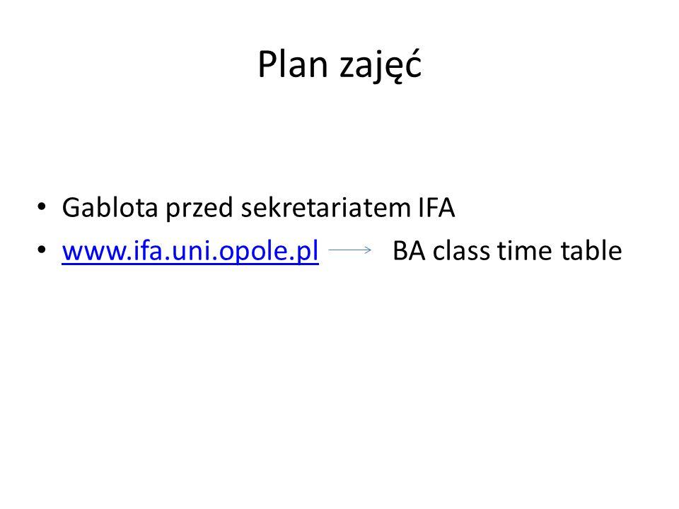 Plan zajęć Gablota przed sekretariatem IFA www.ifa.uni.opole.pl BA class time table www.ifa.uni.opole.pl