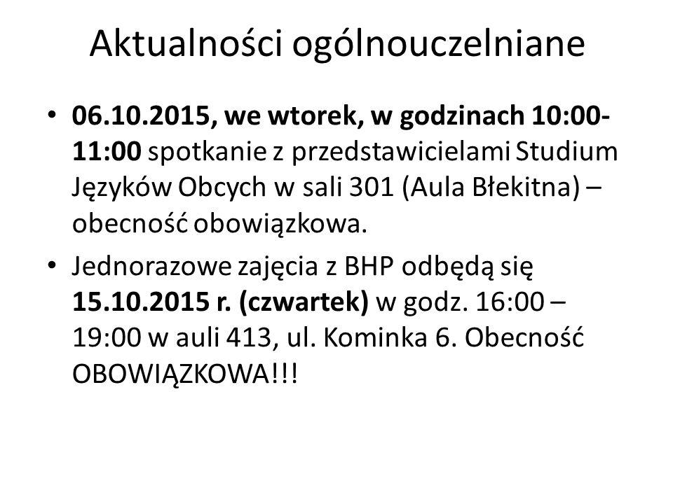 Aktualności ogólnouczelniane 06.10.2015, we wtorek, w godzinach 10:00- 11:00 spotkanie z przedstawicielami Studium Języków Obcych w sali 301 (Aula Błekitna) – obecność obowiązkowa.