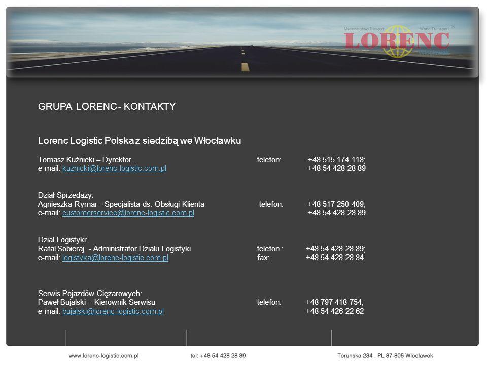 GRUPA LORENC - KONTAKTY Lorenc Logistic Polska z siedzibą we Włocławku Tomasz Kuźnicki – Dyrektor telefon: +48 515 174 118; e-mail: kuznicki@lorenc-lo