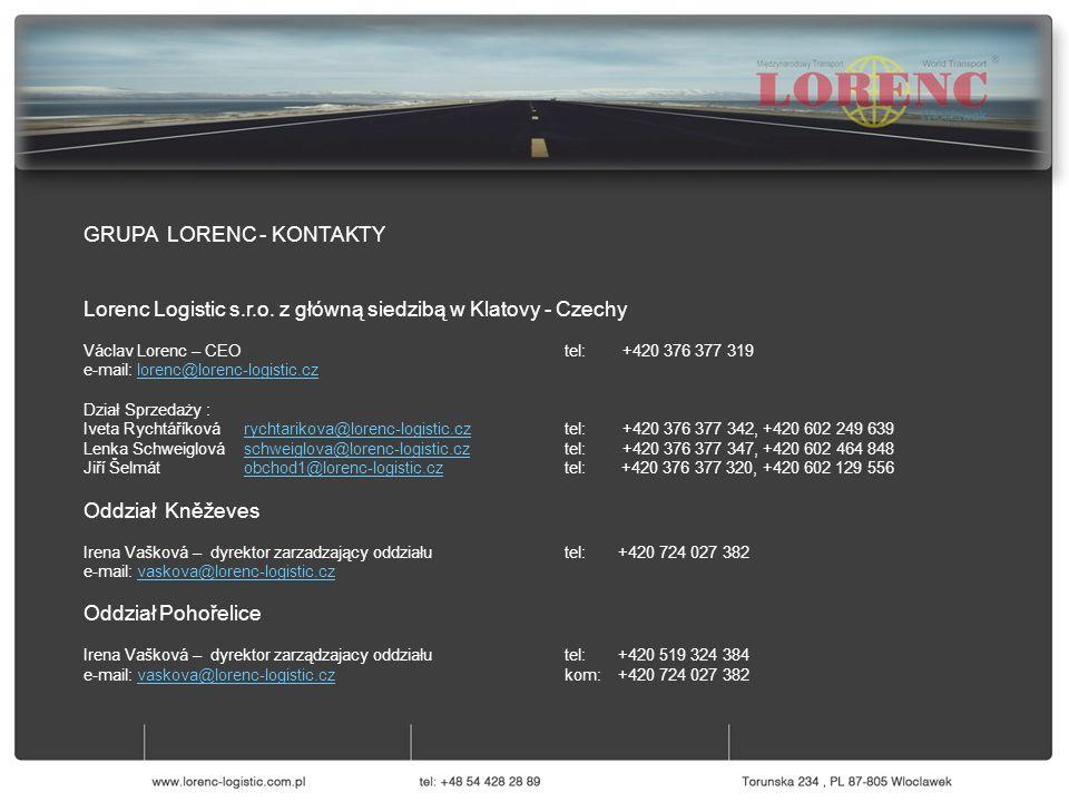 GRUPA LORENC - KONTAKTY Lorenc Logistic s.r.o. z główną siedzibą w Klatovy - Czechy Václav Lorenc – CEO tel: +420 376 377 319 e-mail: lorenc@lorenc-lo