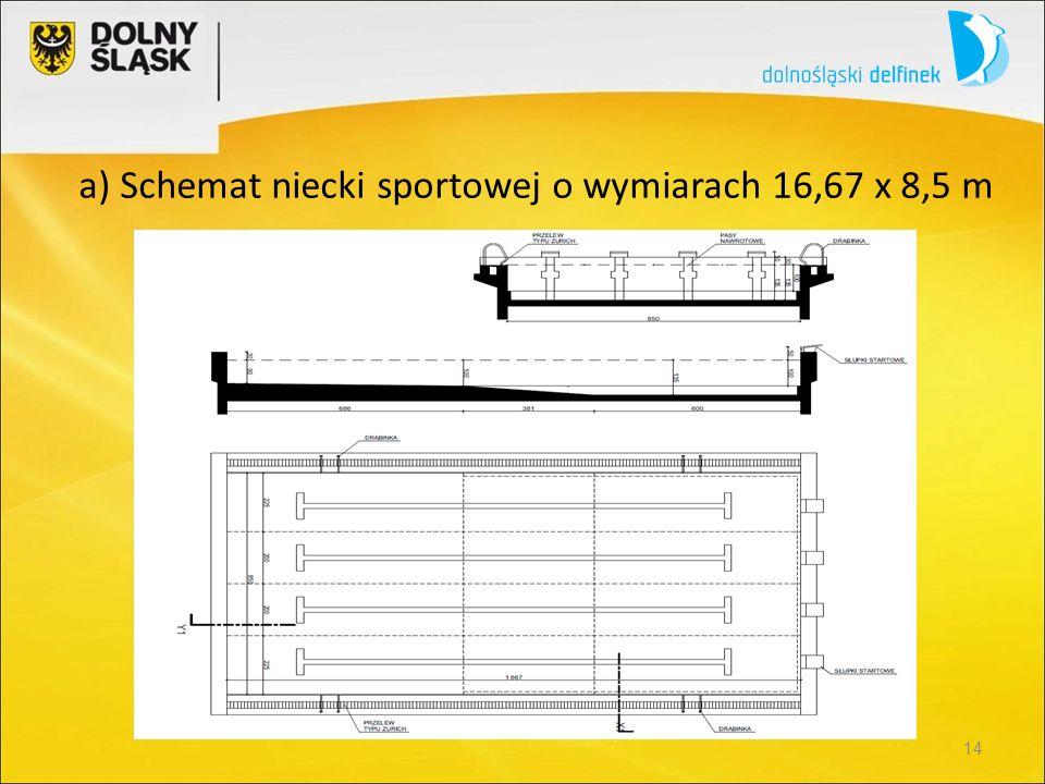 14 a) Schemat niecki sportowej o wymiarach 16,67 x 8,5 m
