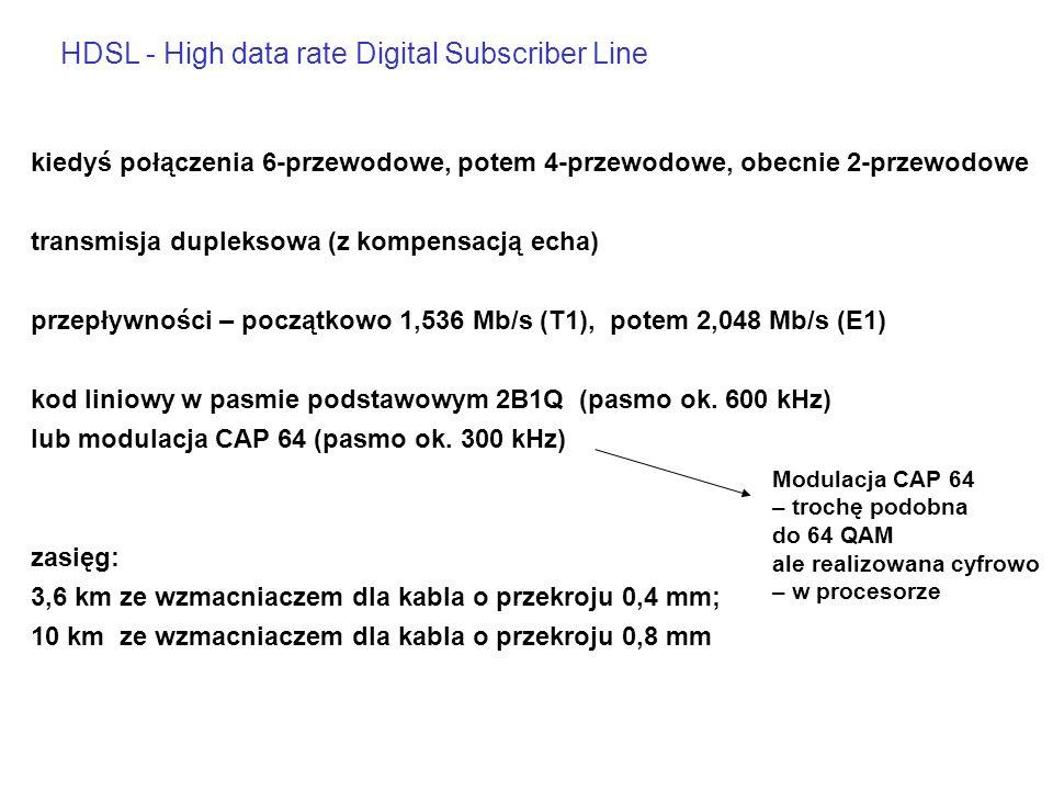 kiedyś połączenia 6-przewodowe, potem 4-przewodowe, obecnie 2-przewodowe transmisja dupleksowa (z kompensacją echa) przepływności – początkowo 1,536 Mb/s (T1), potem 2,048 Mb/s (E1) kod liniowy w pasmie podstawowym 2B1Q (pasmo ok.