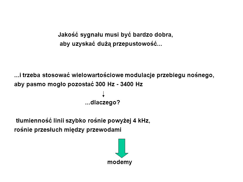 Jakość sygnału musi być bardzo dobra, aby uzyskać dużą przepustowość......i trzeba stosować wielowartościowe modulacje przebiegu nośnego, aby pasmo mogło pozostać 300 Hz - 3400 Hz...dlaczego.