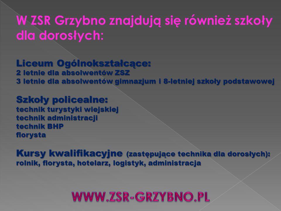 W ZSR Grzybno znajdują się również szkoły dla dorosłych: Liceum Ogólnokształcące: 2 letnie dla absolwentów ZSZ 3 letnie dla absolwentów gimnazjum i 8-