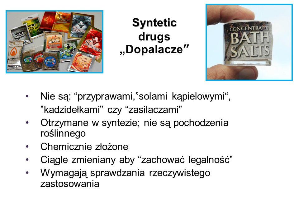 """Syntetic Syntetic drugs """"Dopalacze Nie są: przyprawami, solami kąpielowymi , kadzidełkami czy zasilaczami Otrzymane w syntezie; nie są pochodzenia roślinnego Chemicznie złożone Ciągle zmieniany aby zachować legalność Wymagają sprawdzania rzeczywistego zastosowania"""