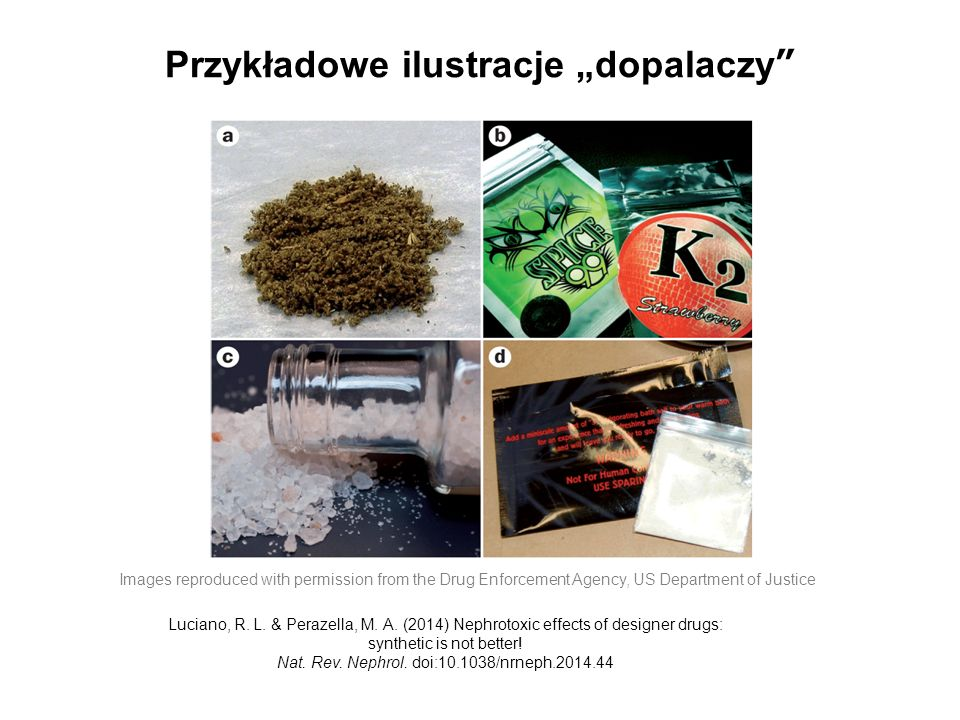 "Przykładowe ilustracje ""dopalaczy"" Images reproduced with permission from the Drug Enforcement Agency, US Department of Justice Luciano, R. L. & Peraz"