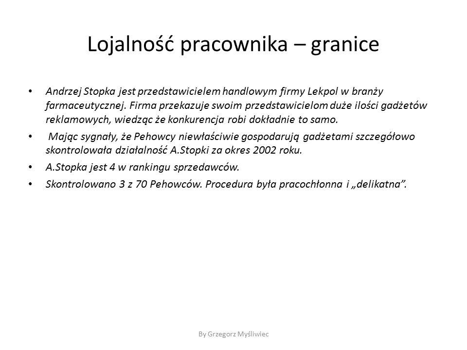 Lojalność pracownika – granice Andrzej Stopka jest przedstawicielem handlowym firmy Lekpol w branży farmaceutycznej.
