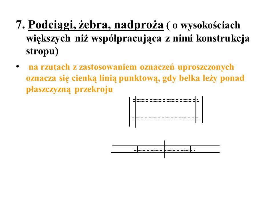 7. Podciągi, żebra, nadproża ( o wysokościach większych niż współpracująca z nimi konstrukcja stropu) na rzutach z zastosowaniem oznaczeń uproszczonyc