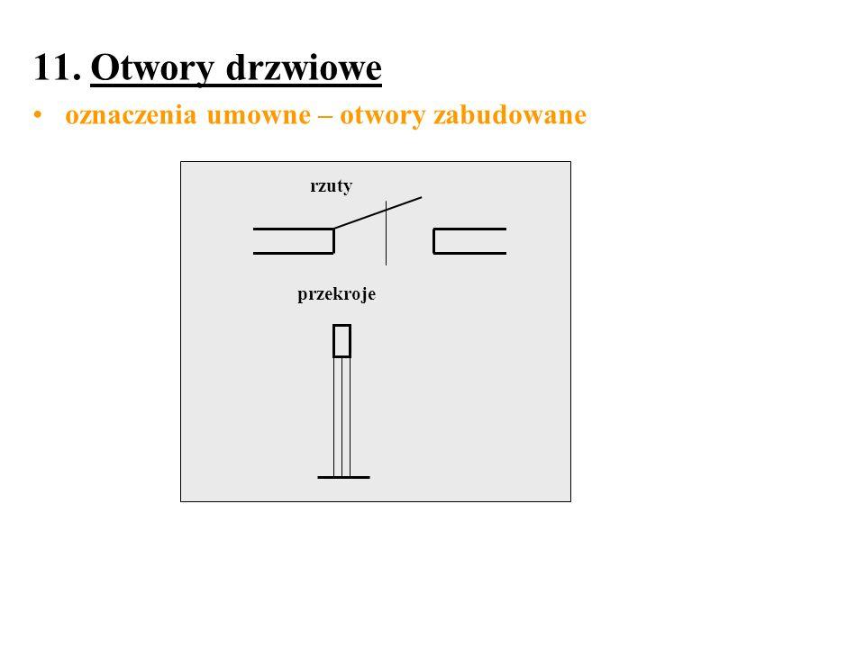 11. Otwory drzwiowe oznaczenia umowne – otwory zabudowane rzuty przekroje