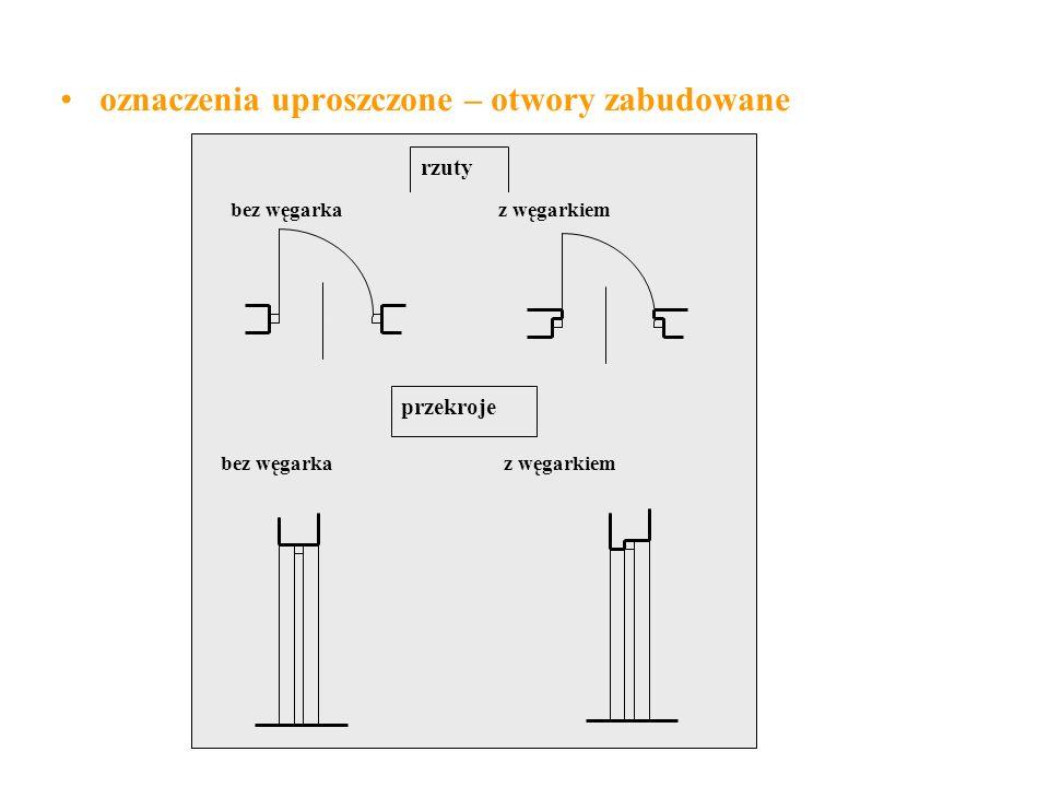 oznaczenia uproszczone – otwory zabudowane rzuty bez węgarka z węgarkiem przekroje bez węgarka z węgarkiem