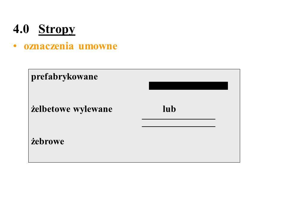 4.0 Stropy oznaczenia umowne prefabrykowane żelbetowe wylewane lub żebrowe