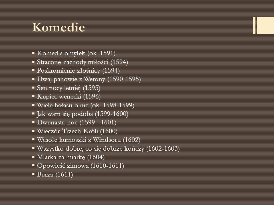 Komedie  Komedia omyłek (ok. 1591)  Stracone zachody miłości (1594)  Poskromienie złośnicy (1594)  Dwaj panowie z Werony (1590-1595)  Sen nocy le