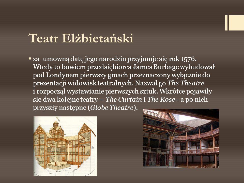 Teatr Elżbietański  za umowną datę jego narodzin przyjmuje się rok 1576. Wtedy to bowiem przedsiębiorca James Burbage wybudował pod Londynem pierwszy