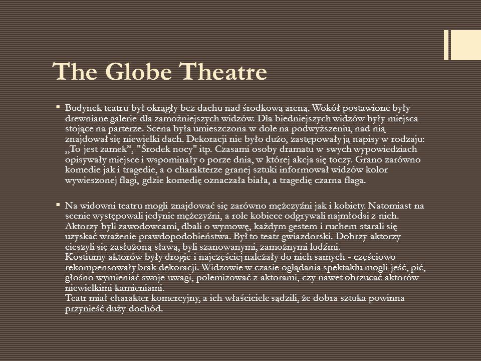  Budynek teatru był okrągły bez dachu nad środkową areną. Wokół postawione były drewniane galerie dla zamożniejszych widzów. Dla biedniejszych widzów
