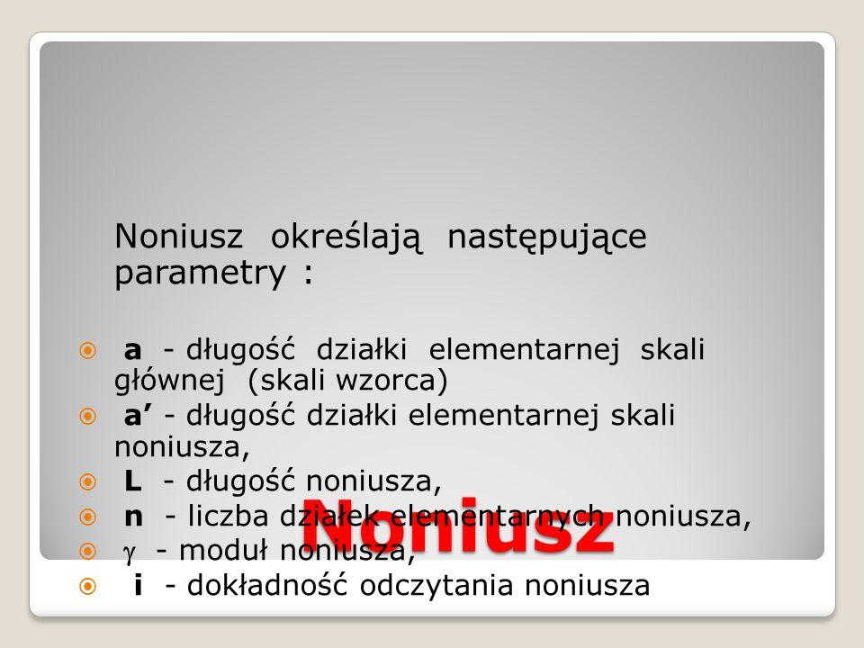 Noniusz Noniusz określają następujące parametry :  a - długość działki elementarnej skali głównej (skali wzorca)  a' - długość działki elementarnej