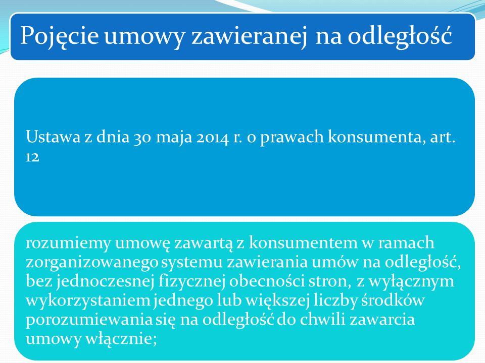 Ustawa z dnia 30 maja 2014 r. o prawach konsumenta, art. 12 rozumiemy umowę zawartą z konsumentem w ramach zorganizowanego systemu zawierania umów na