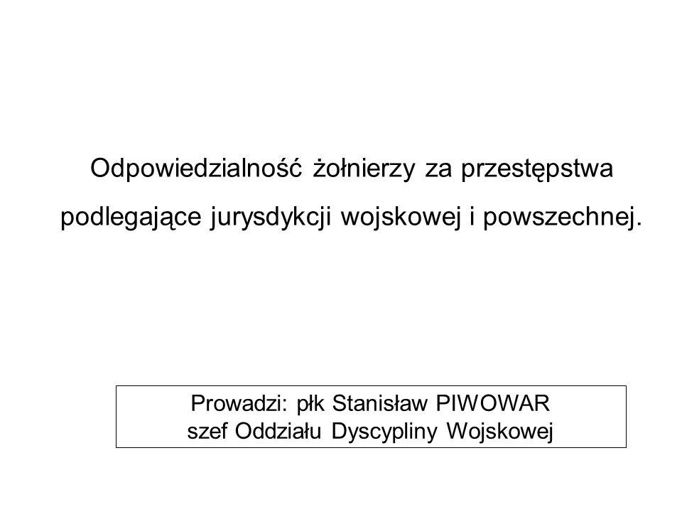 Prowadzi: płk Stanisław PIWOWAR szef Oddziału Dyscypliny Wojskowej Odpowiedzialność żołnierzy za przestępstwa podlegające jurysdykcji wojskowej i powszechnej.
