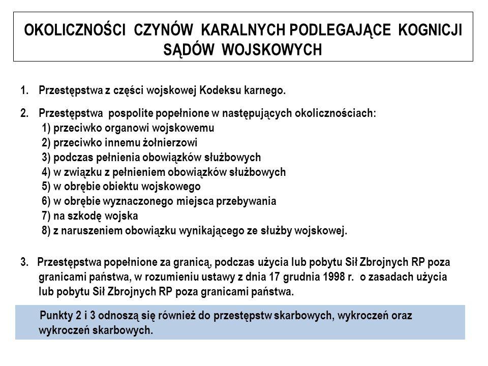 OKOLICZNOŚCI CZYNÓW KARALNYCH PODLEGAJĄCE KOGNICJI SĄDÓW WOJSKOWYCH 1.Przestępstwa z części wojskowej Kodeksu karnego.