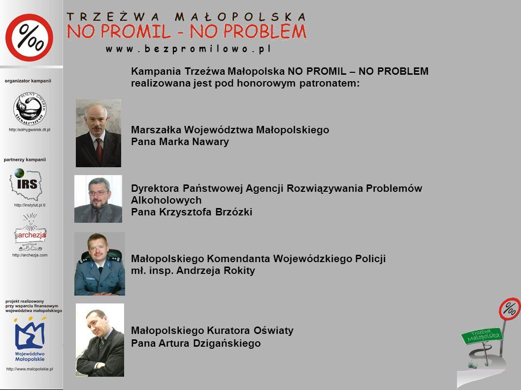 w w w. b e z p r o m i l o w o. p l Kampania Trzeźwa Małopolska NO PROMIL – NO PROBLEM realizowana jest pod honorowym patronatem: Marszałka Województw