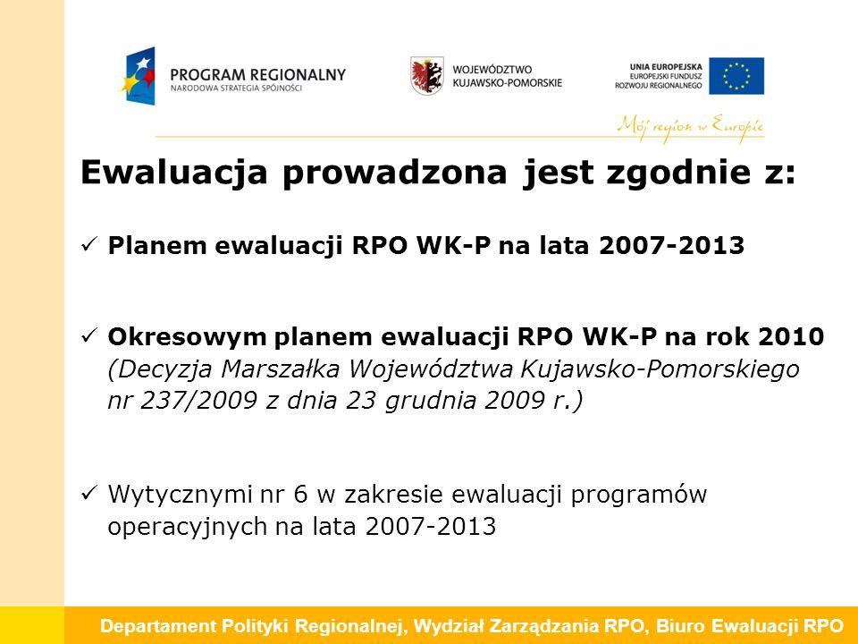 Departament Polityki Regionalnej, Wydział Zarządzania RPO, Biuro Ewaluacji RPO Ewaluacja prowadzona jest zgodnie z: Planem ewaluacji RPO WK-P na lata 2007-2013 Okresowym planem ewaluacji RPO WK-P na rok 2010 (Decyzja Marszałka Województwa Kujawsko-Pomorskiego nr 237/2009 z dnia 23 grudnia 2009 r.) Wytycznymi nr 6 w zakresie ewaluacji programów operacyjnych na lata 2007-2013