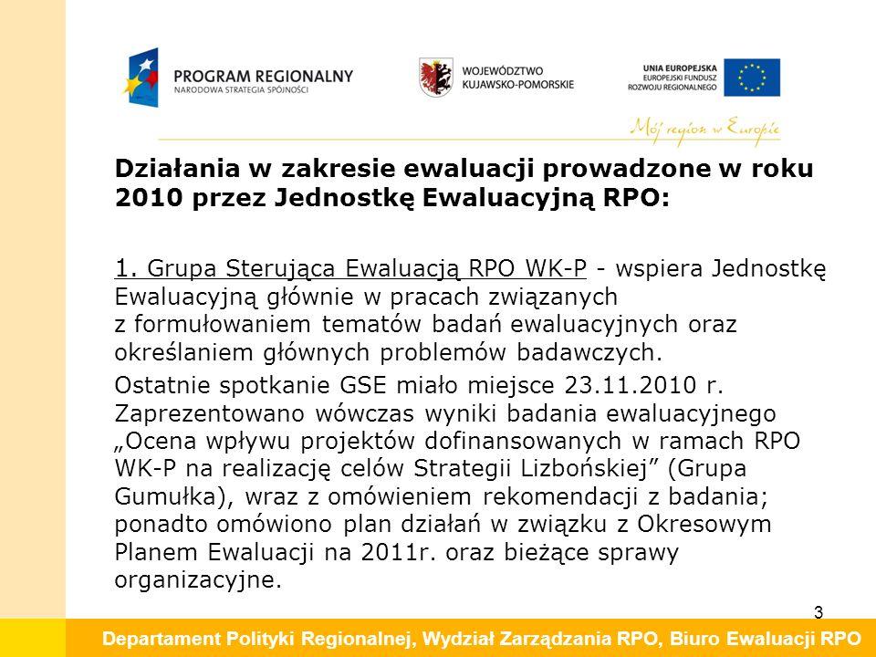 Departament Polityki Regionalnej, Wydział Zarządzania RPO, Biuro Ewaluacji RPO Działania w zakresie ewaluacji prowadzone w roku 2010 przez Jednostkę Ewaluacyjną RPO: 1.
