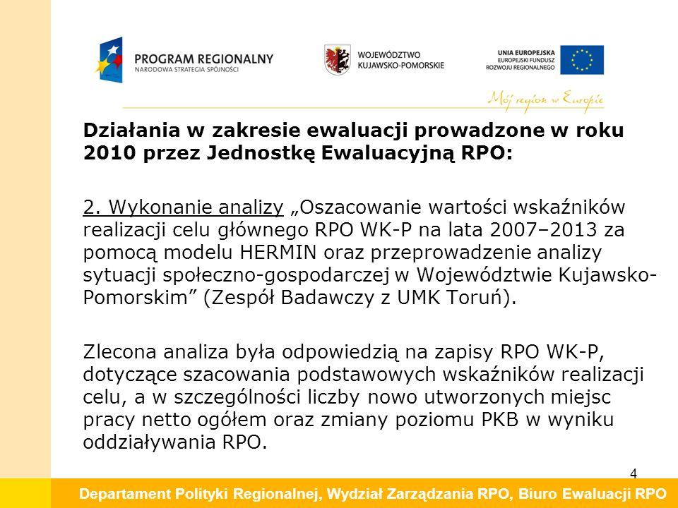Departament Polityki Regionalnej, Wydział Zarządzania RPO, Biuro Ewaluacji RPO Działania w zakresie ewaluacji prowadzone w roku 2010 przez Jednostkę Ewaluacyjną RPO: 2.