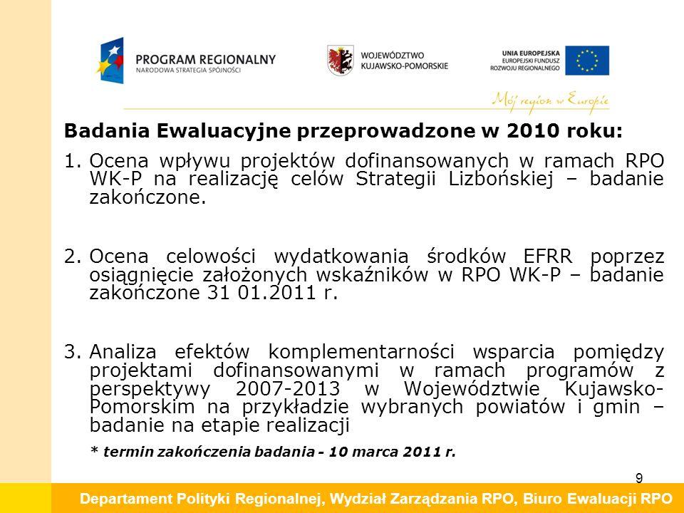 Departament Polityki Regionalnej, Wydział Zarządzania RPO, Biuro Ewaluacji RPO Badania Ewaluacyjne przeprowadzone w 2010 roku: 1.Ocena wpływu projektów dofinansowanych w ramach RPO WK-P na realizację celów Strategii Lizbońskiej – badanie zakończone.