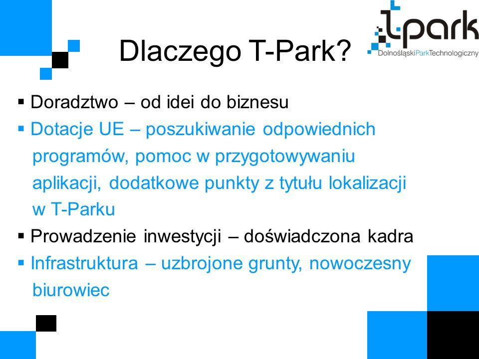 Dlaczego T-Park?  Doradztwo – od idei do biznesu  Dotacje UE – poszukiwanie odpowiednich programów, pomoc w przygotowywaniu aplikacji, dodatkowe pun