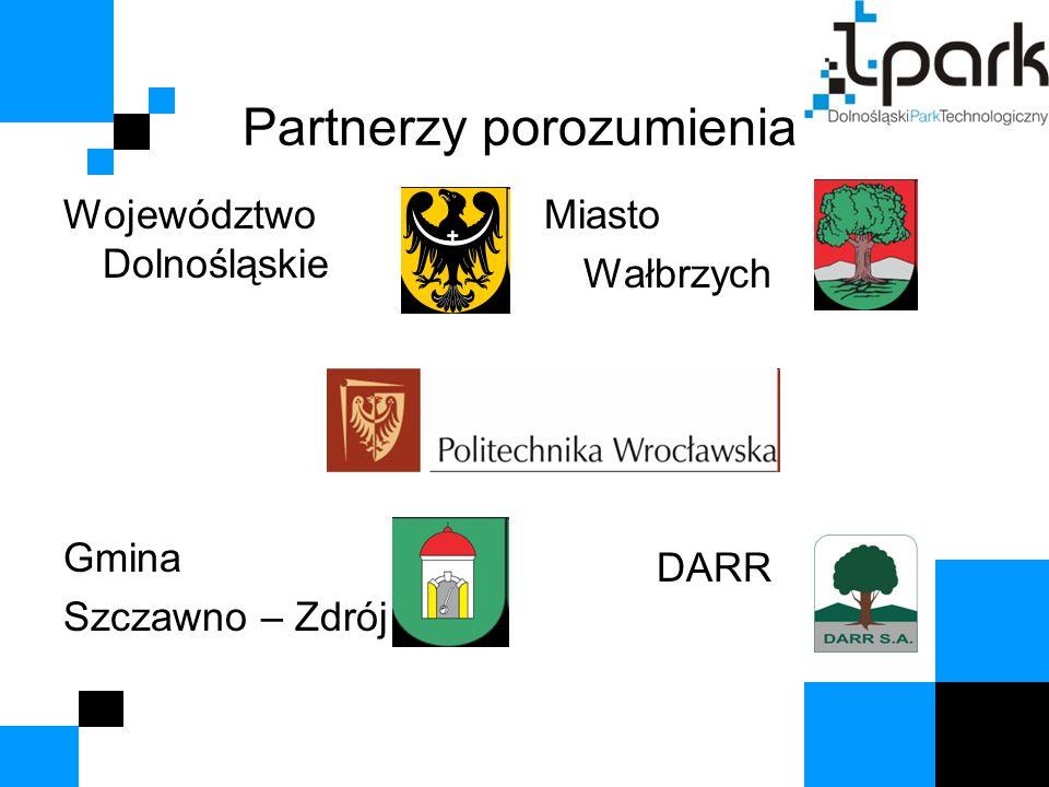 Partnerzy porozumienia Województwo Dolnośląskie Gmina Szczawno – Zdrój Miasto Wałbrzych DARR
