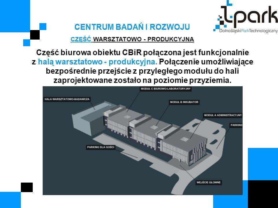 CENTRUM BADAŃ I ROZWOJU CZĘŚĆ WARSZTATOWO - PRODUKCYJNA Część biurowa obiektu CBiR połączona jest funkcjonalnie z halą warsztatowo - produkcyjna. Połą