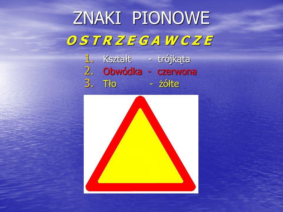 ZNAKI PIONOWE O S T R Z E G A W C Z E 1. K ształt - trójkąta 2. O bwódka - czerwona 3. T ło - żółte
