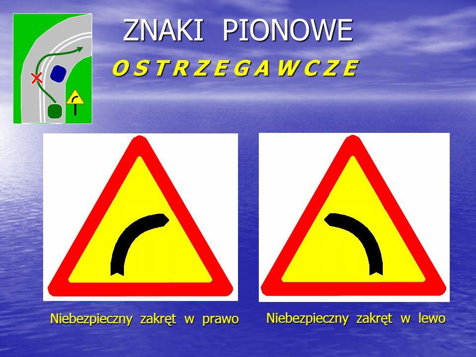 ZNAKI PIONOWE O S T R Z E G A W C Z E Niebezpieczny zakręt w prawo Niebezpieczny zakręt w lewo