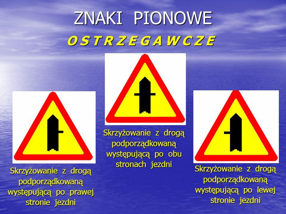 ZNAKI PIONOWE O S T R Z E G A W C Z E Skrzyżowanie z drogą podporządkowaną występującą po prawej stronie jezdni Skrzyżowanie z drogą podporządkowaną występującą po obu stronach jezdni Skrzyżowanie z drogą podporządkowaną występującą po lewej stronie jezdni