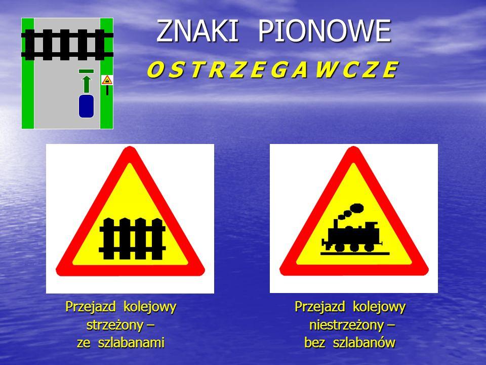 ZNAKI PIONOWE O S T R Z E G A W C Z E Przejazd kolejowy strzeżony – ze szlabanami Przejazd kolejowy niestrzeżony – niestrzeżony – bez szlabanów