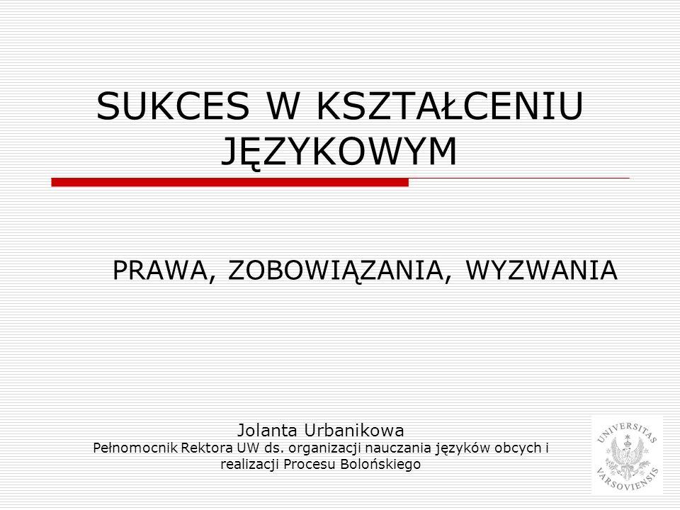 SUKCES W KSZTAŁCENIU JĘZYKOWYM PRAWA, ZOBOWIĄZANIA, WYZWANIA Jolanta Urbanikowa Pełnomocnik Rektora UW ds. organizacji nauczania języków obcych i real