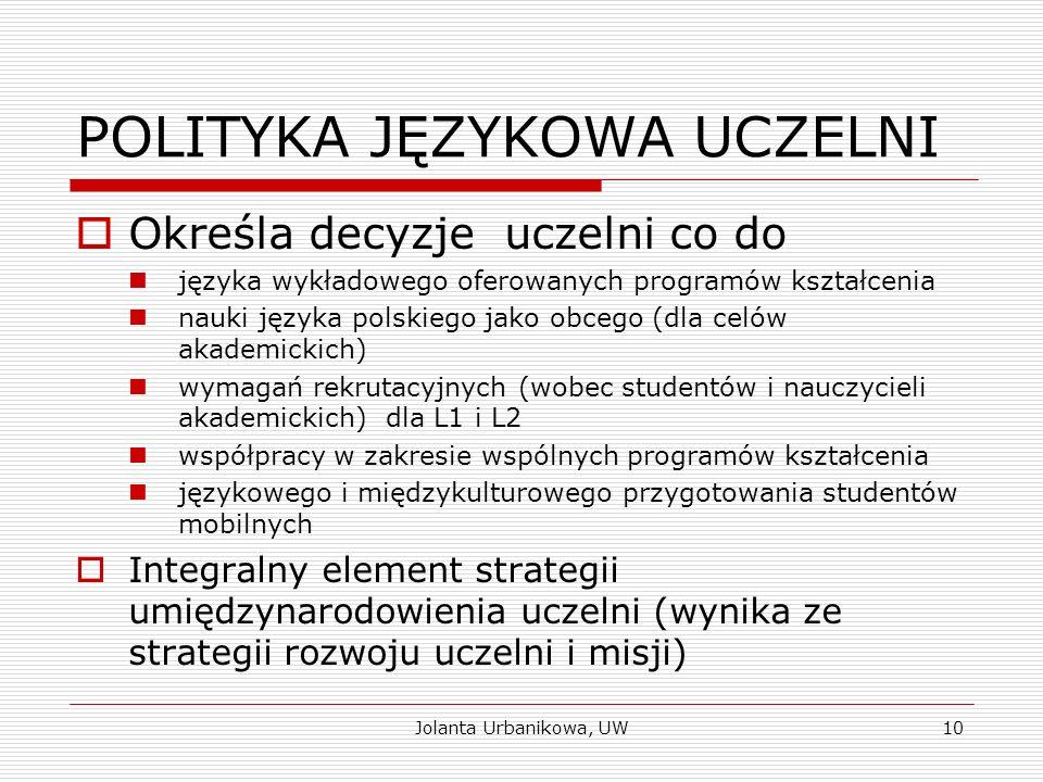 POLITYKA JĘZYKOWA UCZELNI  Określa decyzje uczelni co do języka wykładowego oferowanych programów kształcenia nauki języka polskiego jako obcego (dla