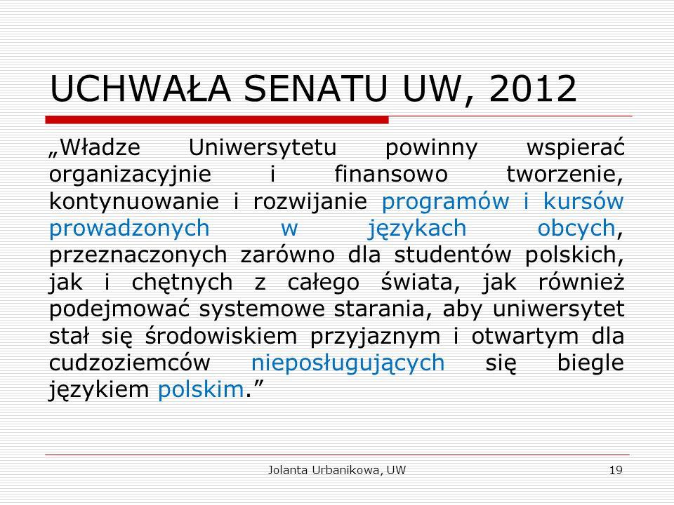 """UCHWAŁA SENATU UW, 2012 """"Władze Uniwersytetu powinny wspierać organizacyjnie i finansowo tworzenie, kontynuowanie i rozwijanie programów i kursów prow"""