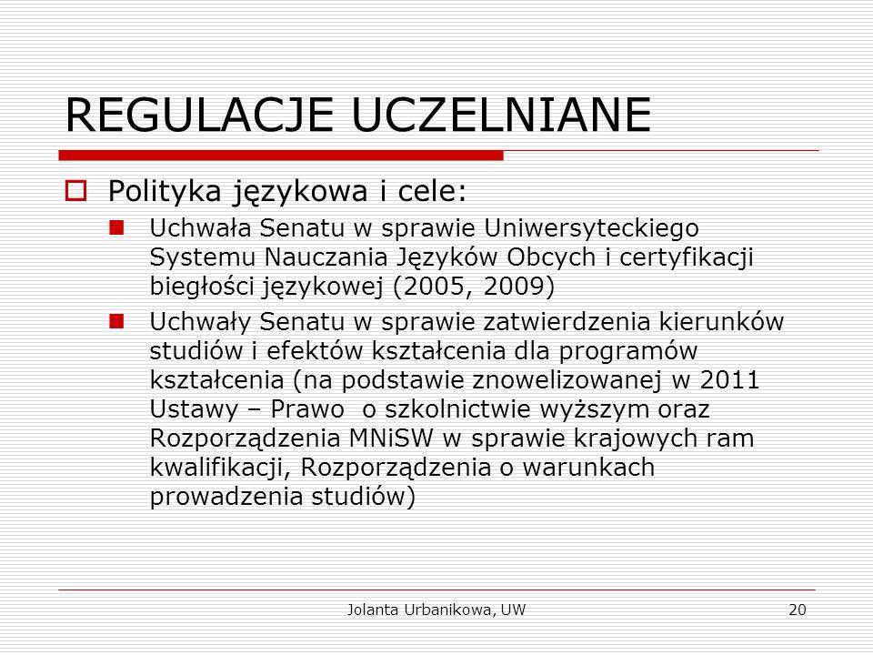 REGULACJE UCZELNIANE  Polityka językowa i cele: Uchwała Senatu w sprawie Uniwersyteckiego Systemu Nauczania Języków Obcych i certyfikacji biegłości j