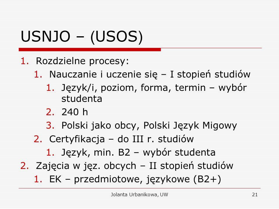 USNJO – ( USOS ) 1.Rozdzielne procesy: 1.Nauczanie i uczenie się – I stopień studiów 1.Język/i, poziom, forma, termin – wybór studenta 2.240 h 3.Polsk