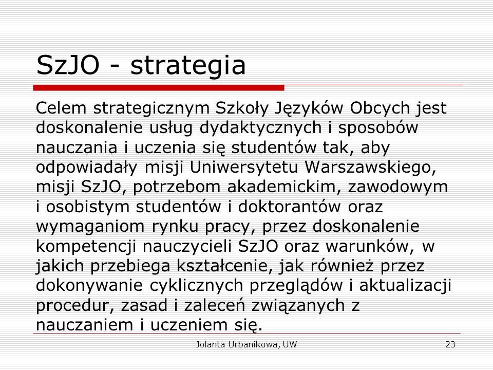 SzJO - strategia Celem strategicznym Szkoły Języków Obcych jest doskonalenie usług dydaktycznych i sposobów nauczania i uczenia się studentów tak, aby