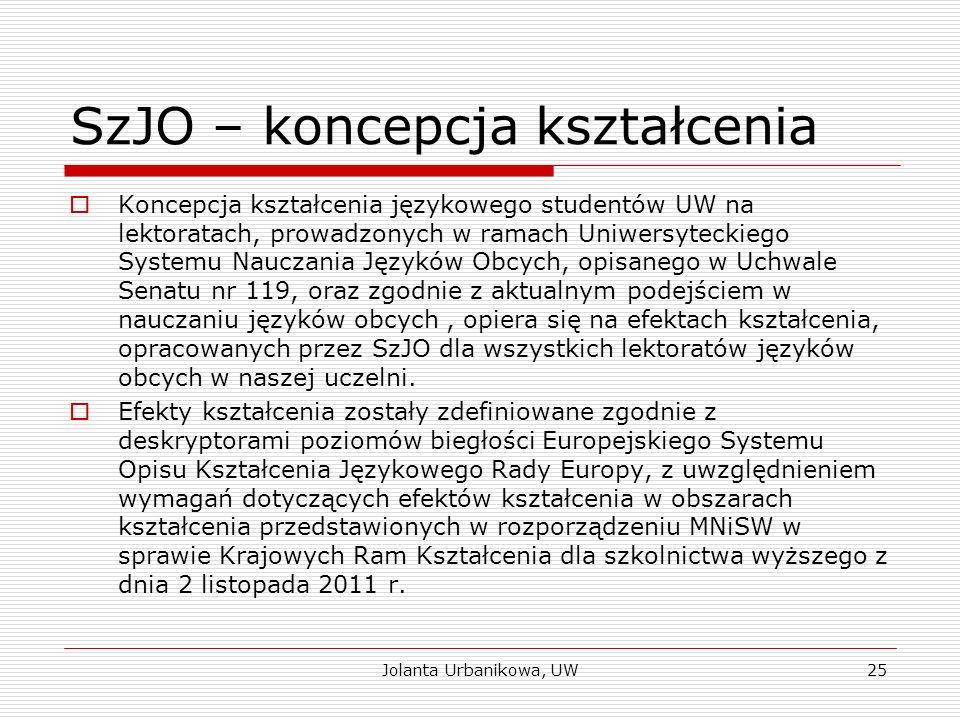 SzJO – koncepcja kształcenia  Koncepcja kształcenia językowego studentów UW na lektoratach, prowadzonych w ramach Uniwersyteckiego Systemu Nauczania