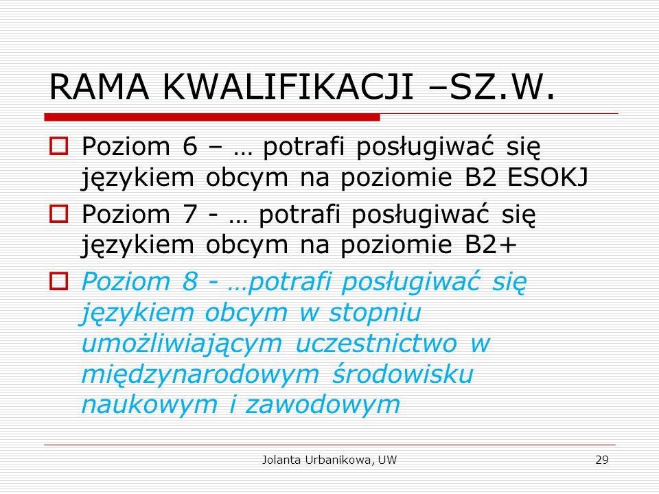 RAMA KWALIFIKACJI –SZ.W.  Poziom 6 – … potrafi posługiwać się językiem obcym na poziomie B2 ESOKJ  Poziom 7 - … potrafi posługiwać się językiem obcy